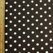 White Eraser Polka Dots on Brown Nylon Lycra Swimsuit Fabric