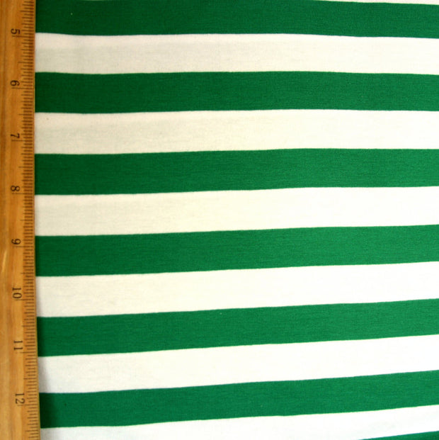 "Green and White 6/8"" Stripe Knit Fabric"