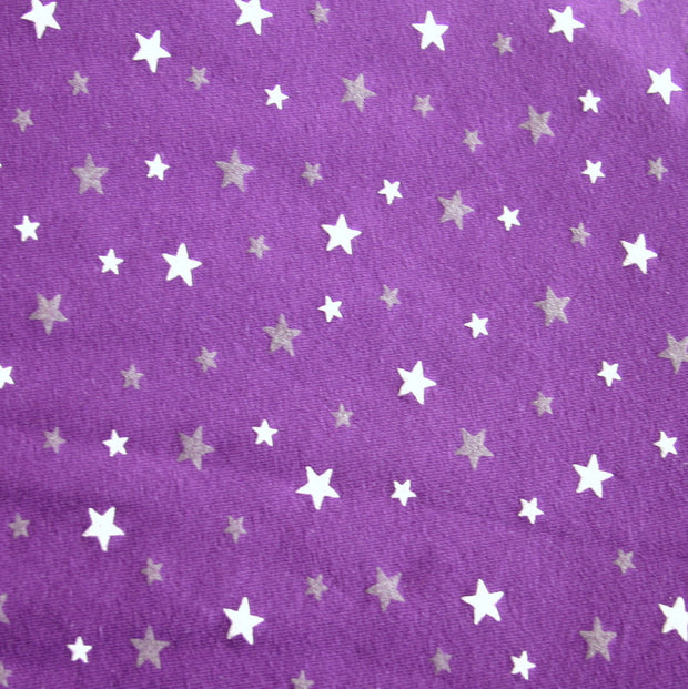White and Grey Scattered Stars on Purple Cotton Lycra Knit Fabric