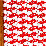White Hearts and Stars on Red Cotton Lycra Knit Fabric