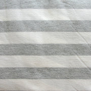 "Grey and Off White 1"" Stripe Cotton Knit Fabric - Seconds - Not Quite Perfect"