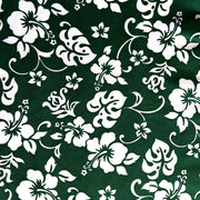 White Hibiscus Floral on Green Microfiber Boardshort Fabric - SECONDS - Not Quite Perfect