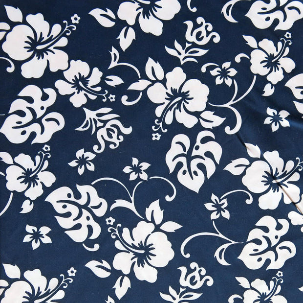 White Hibiscus Floral on Black Microfiber Boardshort Fabric