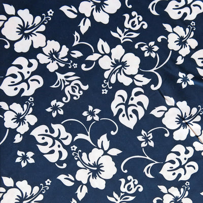 White Hibiscus Floral on Navy Microfiber Boardshort Fabric - SECONDS - Not Quite Perfect