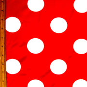 Jumbo White Polka Dots on Red Nylon Lycra Swimsuit Fabric