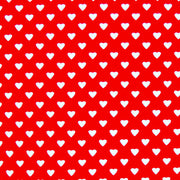 Dainty White Hearts on Red Cotton Lycra Knit Fabric