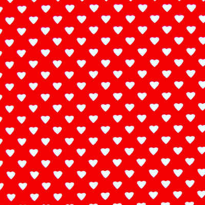 Dainty White Hearts on Red Cotton Knit Fabric