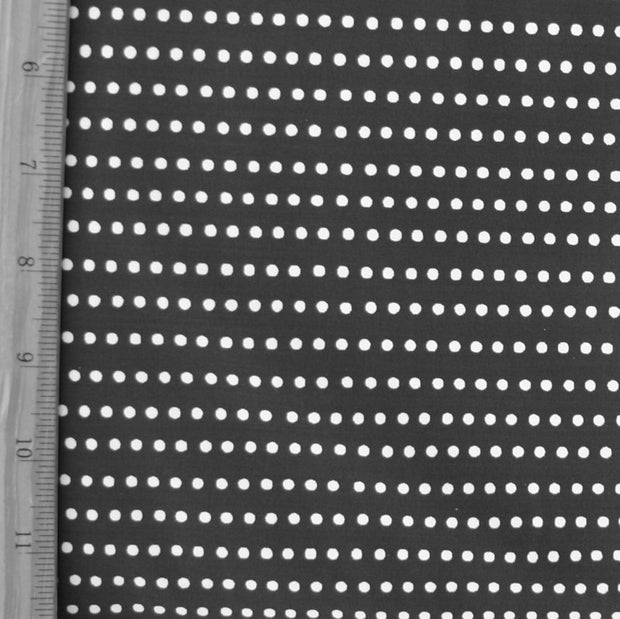 "White Mini Dots on Black Swimsuit Fabric - 34"" Remnant Piece"