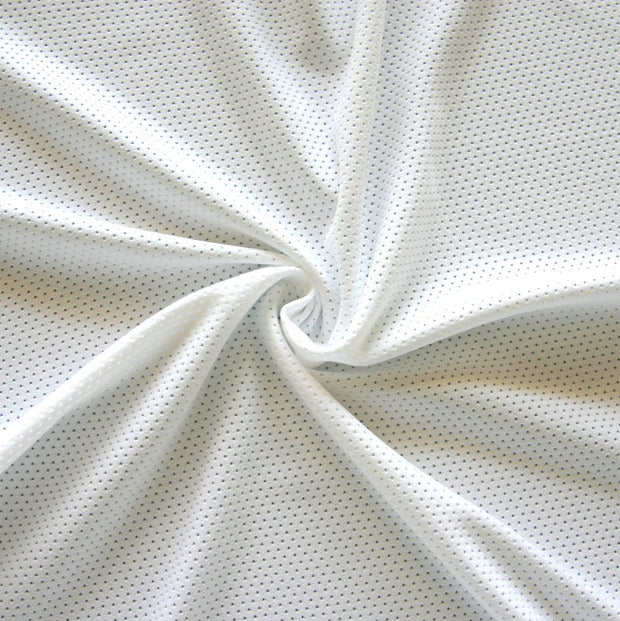 White Dri-Fit Stretch Series Mini Mesh Lycra Jersey Knit Fabric