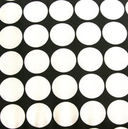 White Mod Polka Dots on Black Swimsuit Fabric