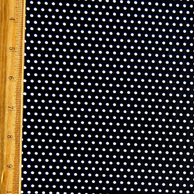 White Pindots on Black Nylon Spandex Swimsuit Fabric