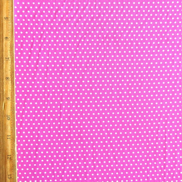White Pindots on Jazzberry Pink Nylon Spandex Swimsuit Fabric