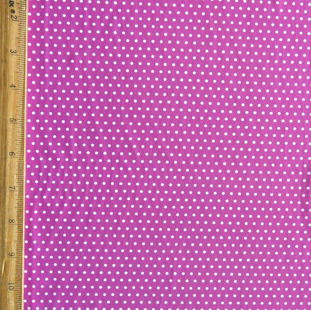 White Pindots on Fuchsia Nylon Spandex Swimsuit Fabric