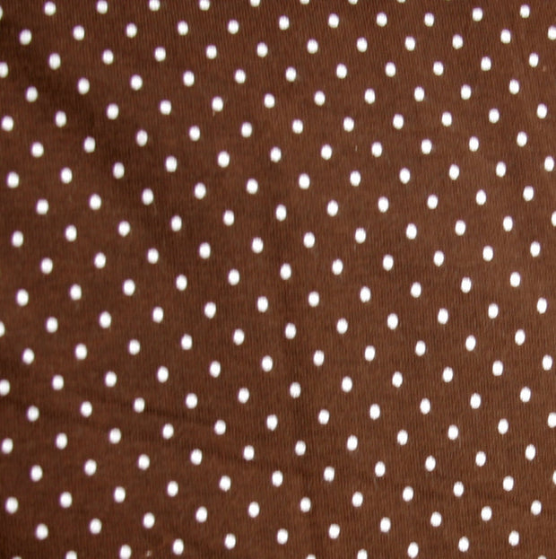 White Pindots on Brown Nylon Lycra Swimsuit Fabric by Anita G