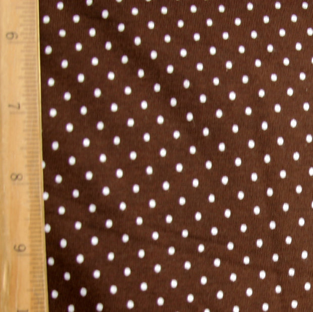 White Pindots on Brown Cotton Lycra Knit Fabric by Anita G