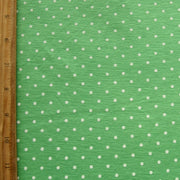 White Pin Dots on Kelly Green Knit Fabric