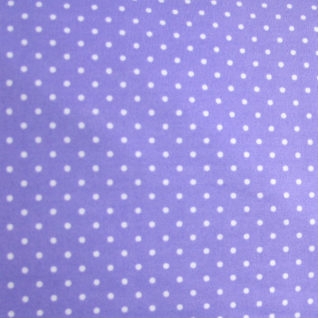 White Pindots on Lilac Cotton Knit Fabric by Anita G