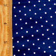 White Pin Dots on Navy Cotton Knit Fabric