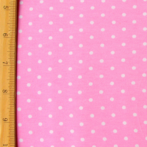 "White Pin Dots on Pink Cotton Lycra Knit Fabric - 29"" Remnant Piece"