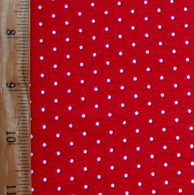 White Pin Dots on Red Cotton Knit Fabric - Seconds - Not Quite Perfect