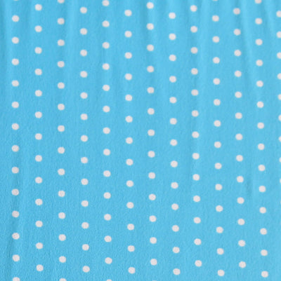 White Pindots on Turquoise Nylon Spandex Swimsuit Fabric