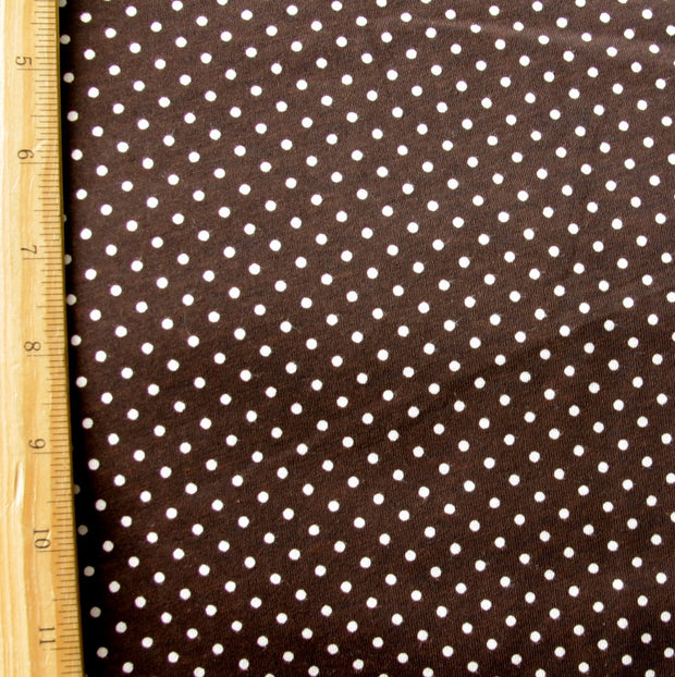 White Pin Dots on Chocolate Brown Cotton Knit Fabric by Anita G
