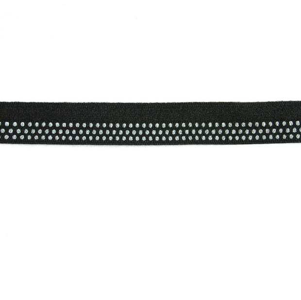 White Polka Dots on Black Fold Over Elastic Trim