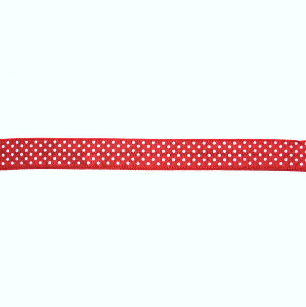 White Polka Dots on Red Fold Over Elastic Trim