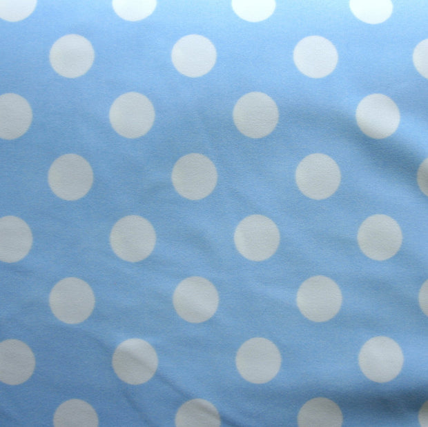White Polka Dots on Baby Blue Nylon Lycra Swimsuit Fabric
