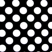 Large White Polka Dots on Black Nylon Lycra Swimsuit Fabric