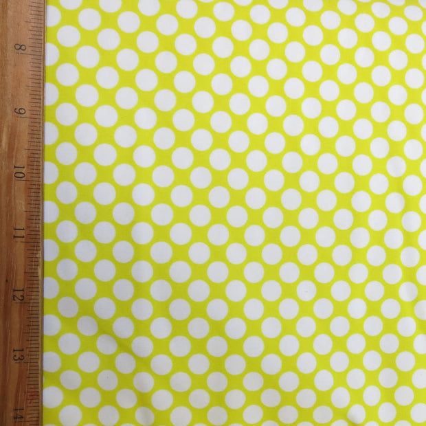 White Polka Dots on Bright Yellow Nylon Spandex Swimsuit Fabric
