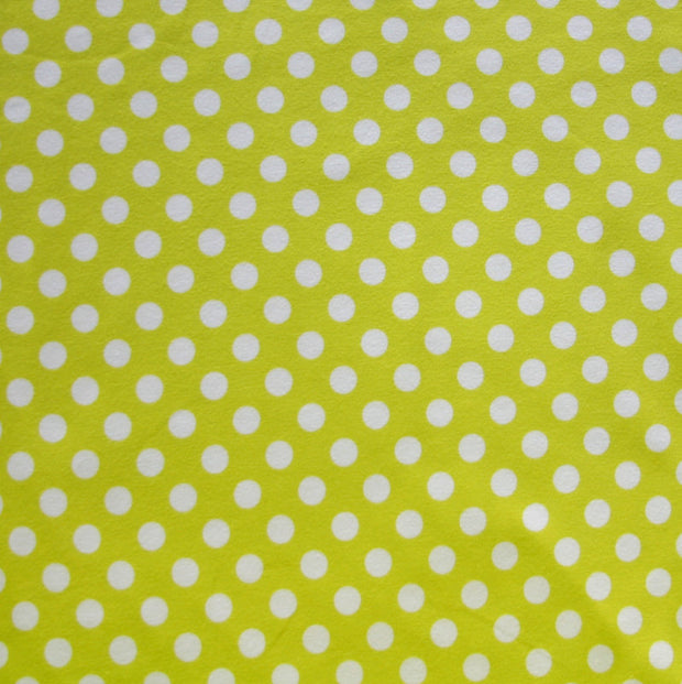 White Polka Dots on Chartruese Cotton Lycra Knit Fabric