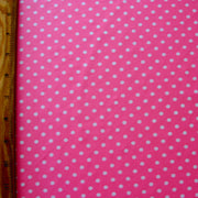 "White Polka Dots on Pink Nylon Lycra Swimsuit Fabric by Flaphappy - 27"" Remnant Piece"