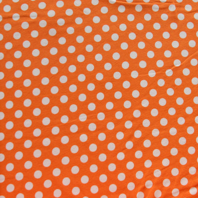 White Polka Dots on Pumpkin Orange Cotton Lycra Knit Fabric