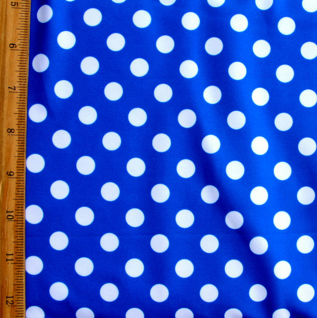 White Polka Dots on Royal Swimsuit Fabric