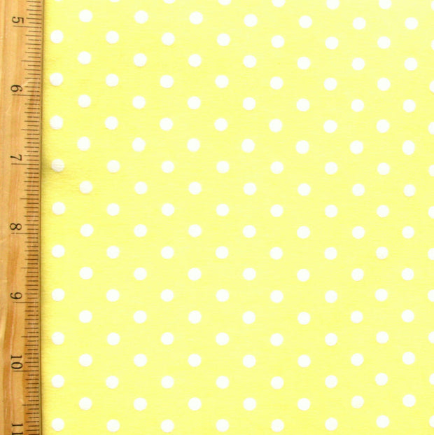 "White Eraser Polka Dots on Yellow Cotton Lycra Knit Fabric - 32"" Remnant Piece"