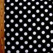 White Polka Dots on Black Swimsuit Fabric