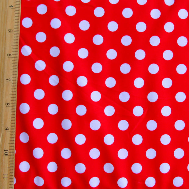 White Polka Dots on Red Swimsuit Fabric