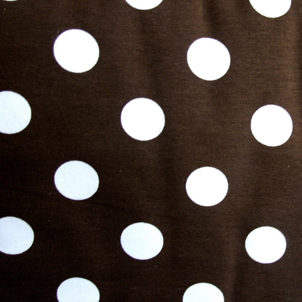 White Quarter Polka Dots on Brown Cotton Lycra Knit Fabric - SECONDS - Not Quite Perfect
