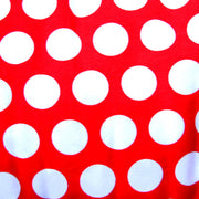 White Quarter Polka Dots on Red Cotton Lycra Knit Fabric