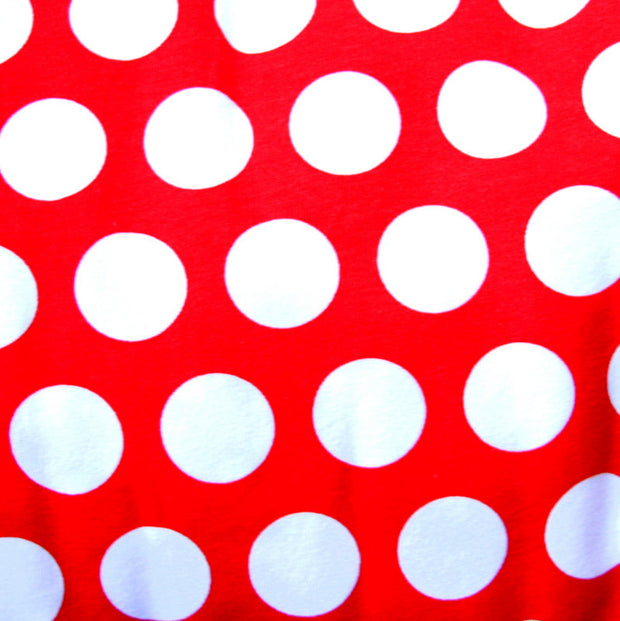 "White Quarter Polka Dots on Red Cotton Lycra Knit Fabric - 20"" Remnant Piece"