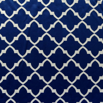 White Quatrefoil on Navy Nylon Spandex Swimsuit Fabric