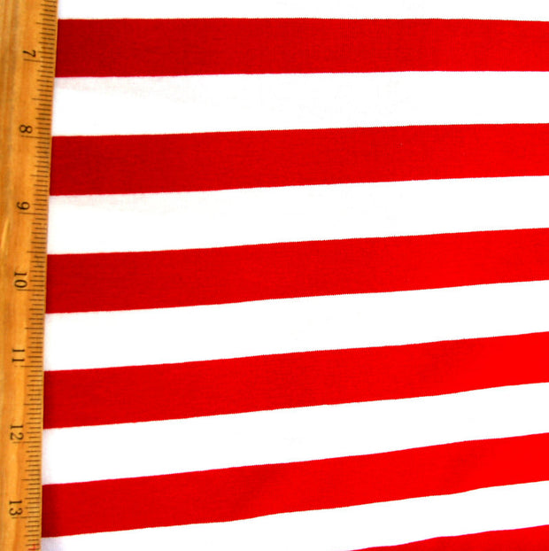 Red and White 6/8 inch Stripe Knit Fabric