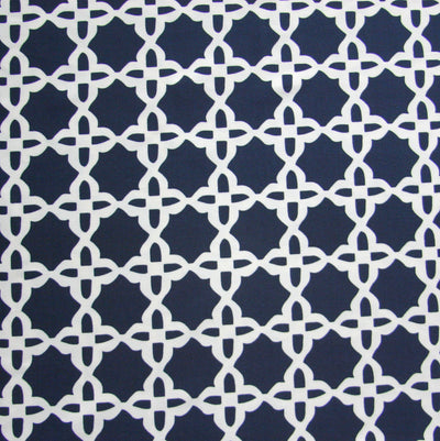 White Star Pattern on Dark Navy Nylon Lycra Swimsuit Fabric