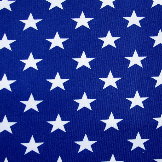 Small White Stars on Blue Swimsuit Fabric