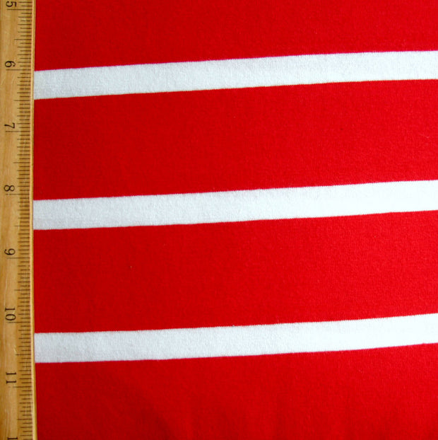 "Red 1 1/2"" wide and White 1/2"" wide Stripes Cotton Lycra Knit Fabric"
