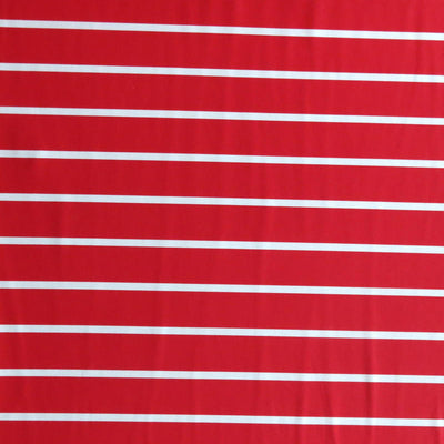 "Red 1"" and White 3/8"" Stripe Nylon Spandex Swimsuit Fabric"