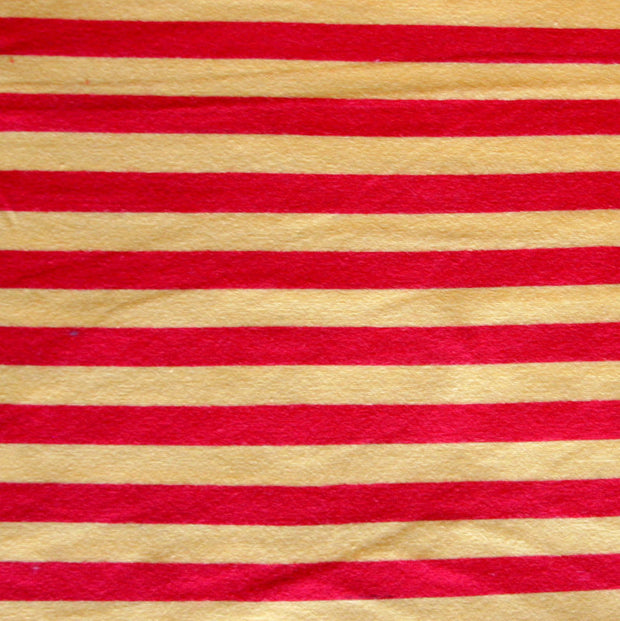 "Yellow and Red 3/8"" wide Stripe Cotton Lycra Knit Fabric"