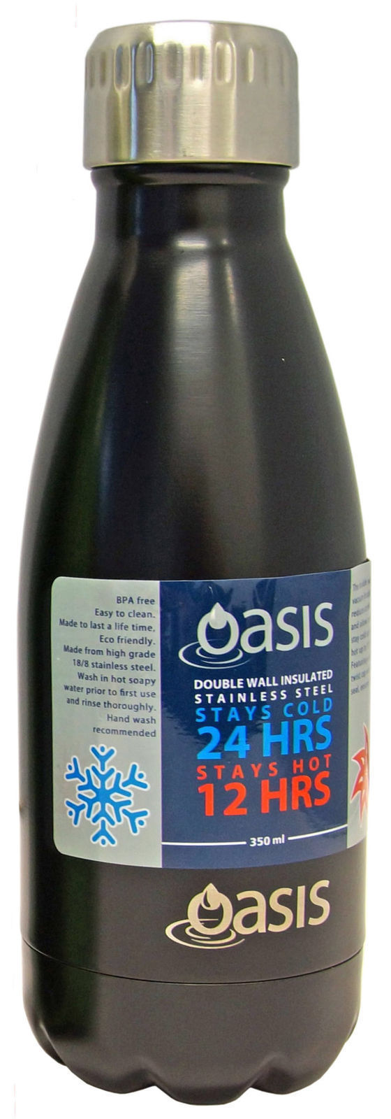 D.Line Oasis Stainless Steel Double Wall Insulated Water Bottle 350ml Matte Black