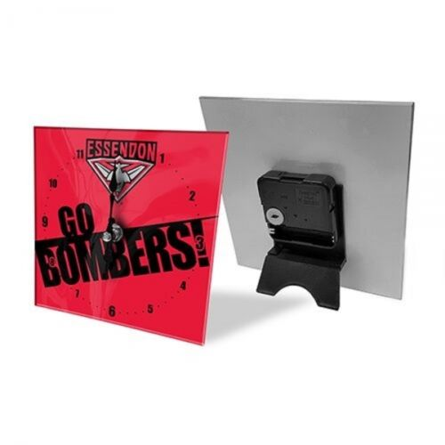 Licensed AFL Team Mini Analogue Glass Desk Mantle Clock - Essendon Bombers